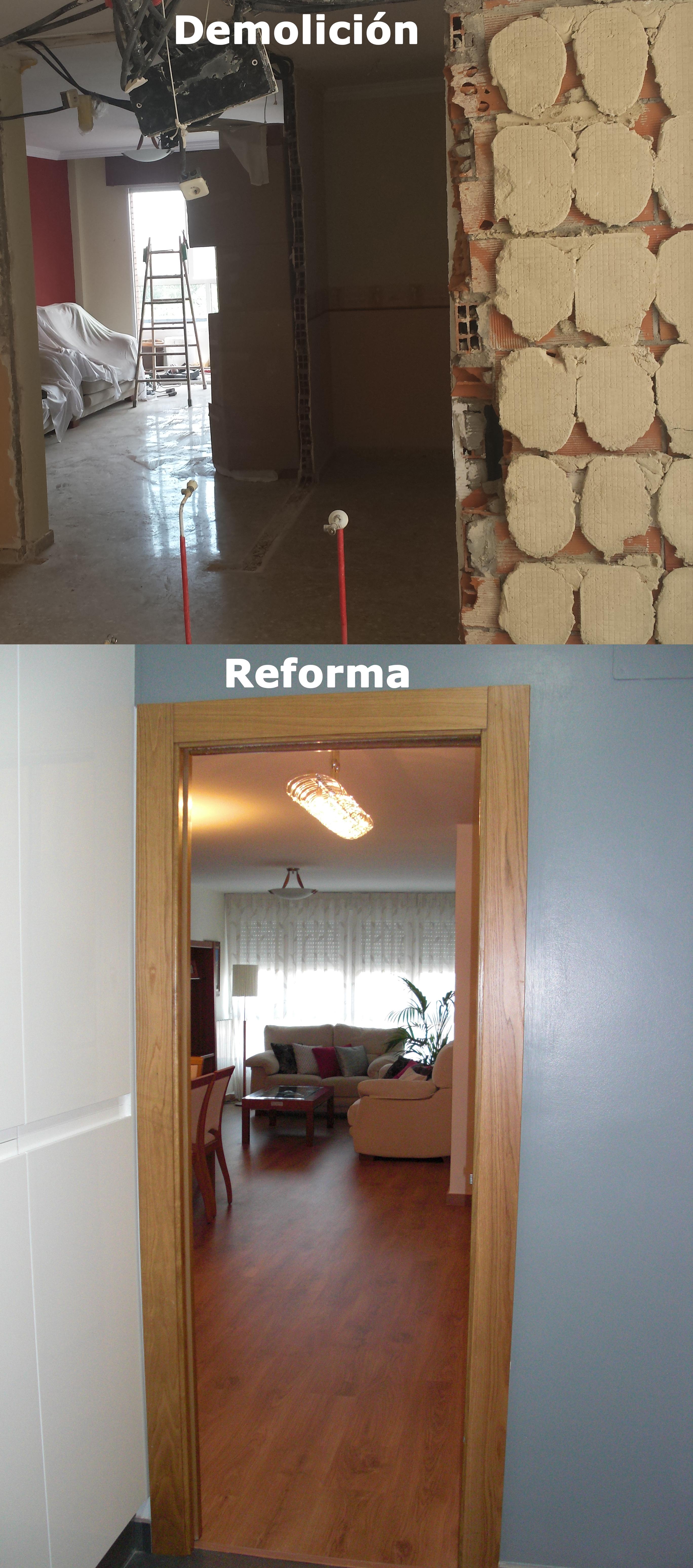 Demolición y estado reformado en vivienda