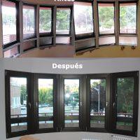 antes y después de la reforma en un salón